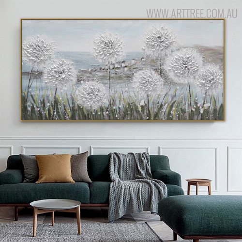 White Blossoms Floral Modern Bold Texture Acrylic Painting for Lounge Room Wall Tracery