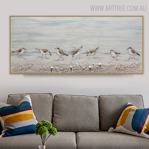 Sparrows Bird Framed Animal Heavy Texture Oil Smudge on Canvas for Living Room Wall Assortment