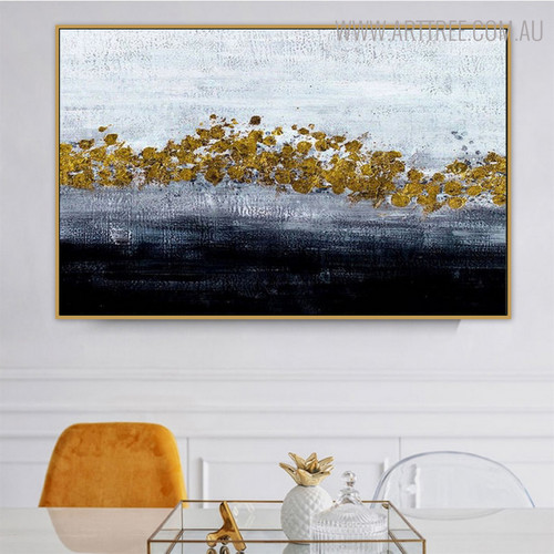 Golden Dots Abstract Modern Handmade Oil Resemblance on Canvas for Dining Room Wall Disposition