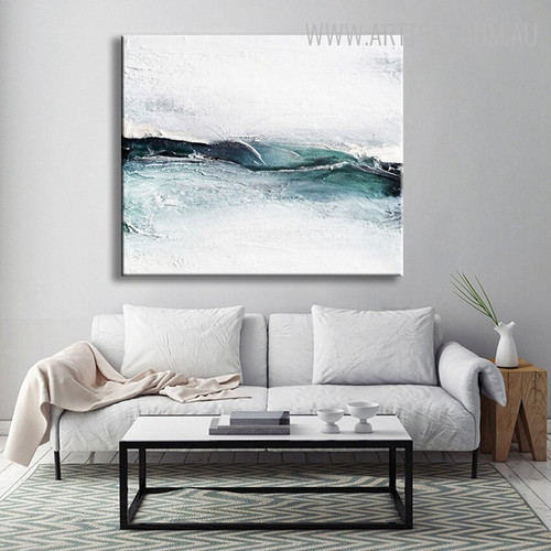 Teal and White Abstract Handmade Canvas Art for Lounge Room Wall Decor