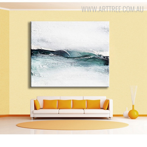Teal and White Abstract Handmade Canvas Art for Living Room Wall Disposition