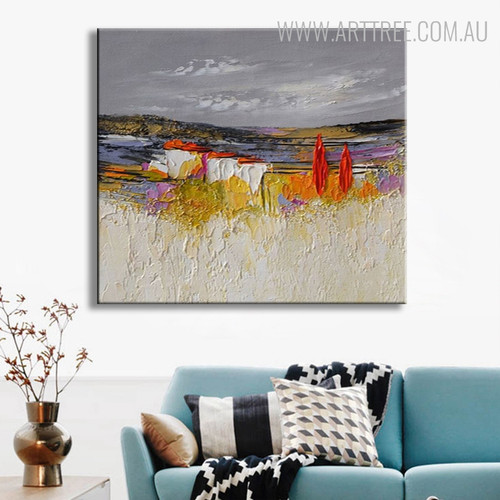 Red Tree Nature Landscape Abstract Handmade Oil Painting for Home Wall Decor
