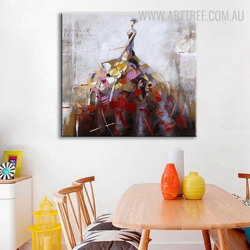 Lady Abstract Framed Heavy Texture Handmade Oil Portmanteau on Canvas for Dining Room Wall Drape