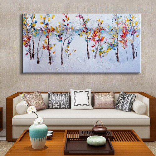 Colorful Flowers Abstract Modern Heavy Texture Handpainted Canvas for Floral Interior Design