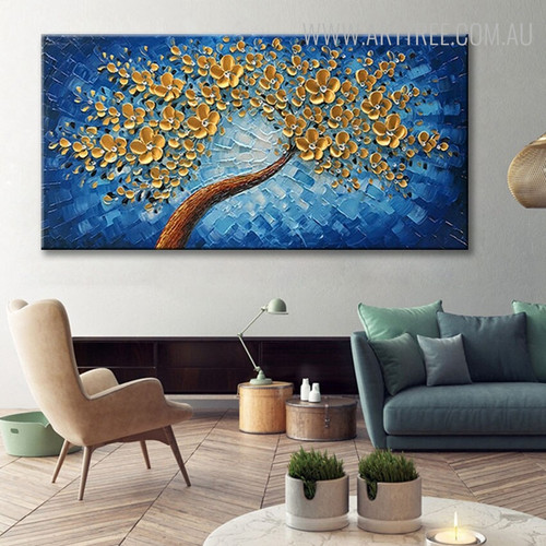 Golden Flowers Floral Abstract Texture Knife Artwork for Room Wall Ornamentation