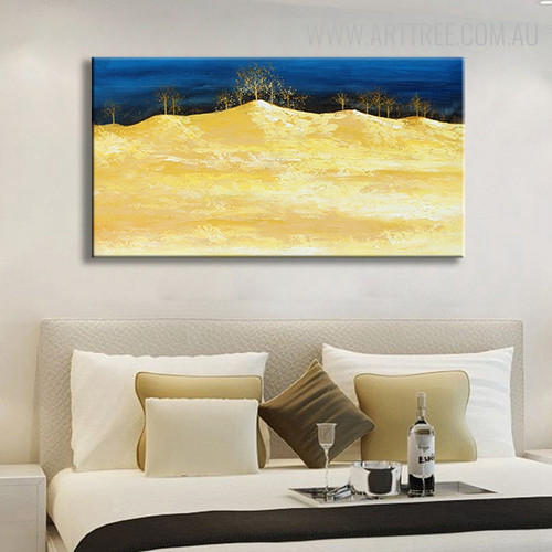 Golden Land Abstract Modern Texture Handmade Canvas Art for Living Room Wall Decor