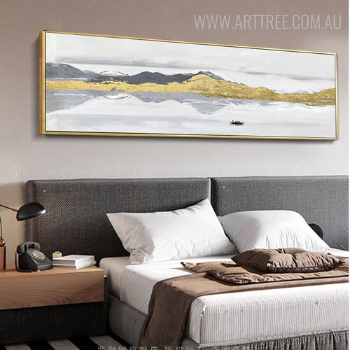 Gilding Mountain Abstract Modern Mountainscape Heavy Texture Handmade Nature Painting for Bedroom Wall Getup