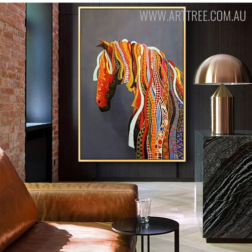 Abstract Horse Animal Heavy Texture Handmade Canvas Artwork for Home Ornament