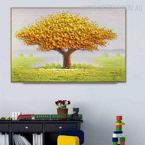 Big Tree Abstract Modern Heavy Texture Oil Effigy on Canvas for Home Wall Garniture