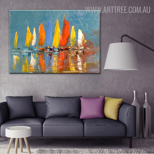 Colorful Boats Abstract Modern Seascape Handmade Nature Smudge for Living Room Wall Flourish