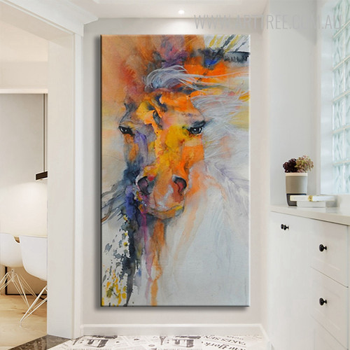 Horse Head Modern Abstract Animal Handmade Canvas Portraiture for Home Wall Getup
