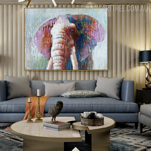 Elephant Head Abstract Animal Modern Handmade Canvas Art for Wall Adornment