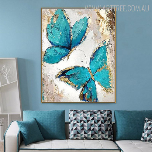 Cyan Butterflies Modern Animal Heavy Texture Canvas Painting for Wall Decor Design
