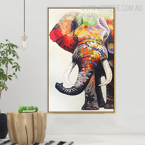 Multicoloured Elephant Modern Animal Heavy Texture Handmade Canvas Artwork for Diy Wall Decor