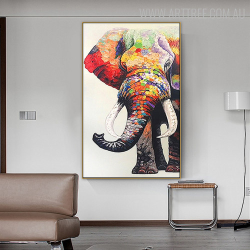 Multicoloured Elephant Modern Animal Heavy Texture Handmade Canvas Artwork for Home Wall Outfit