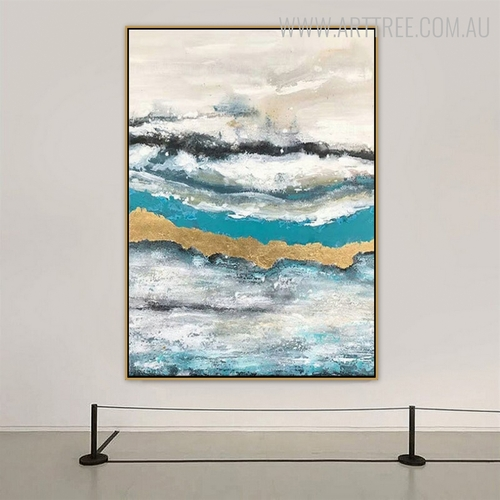 Ocean Waves Abstract Modern Seascape Handmade Nature Painting for Room Wall Adornment