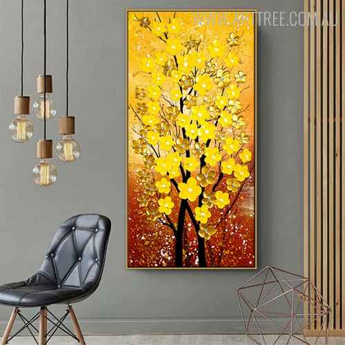 Gold Flowers Modern Floral Handmade Nature Smudge for Living Room Wall Decor