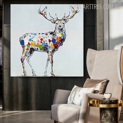 Colorful Deer Abstract Animal Contemporary Knife Painting on Canvas for Diy Wall Decor