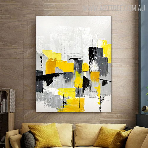 Hued Art Abstract Modern Heavy Texture Knife Artwork for Room Wall Flourish