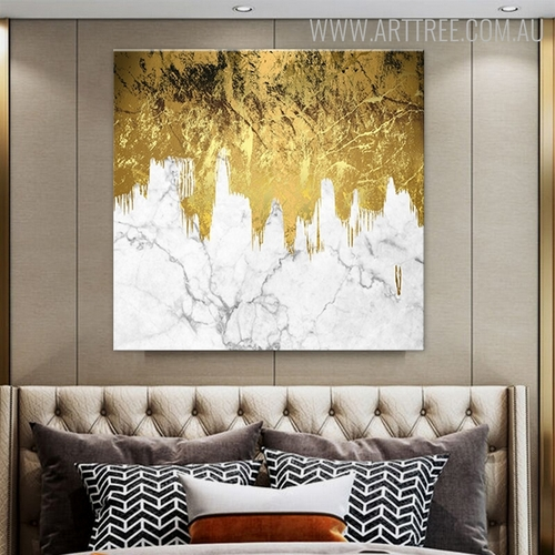 Golden Marble Abstract Modern Texture Handmade Canvas Artwork for Room Wall Decor