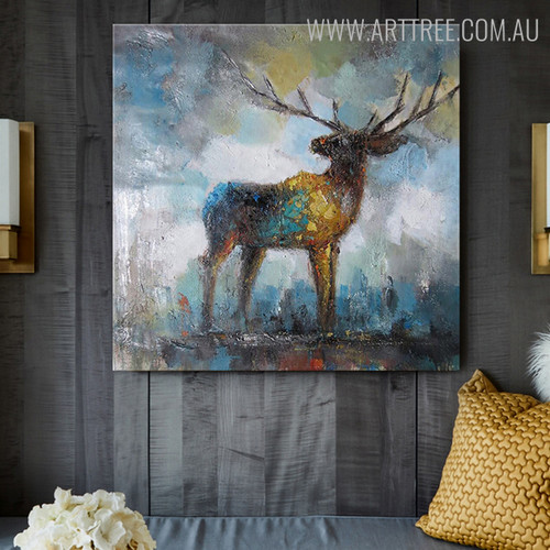 Elk Deer Abstract Animal Modern Heavy Texture Handmade Oil Vignette on Canvas for Home Interior Design