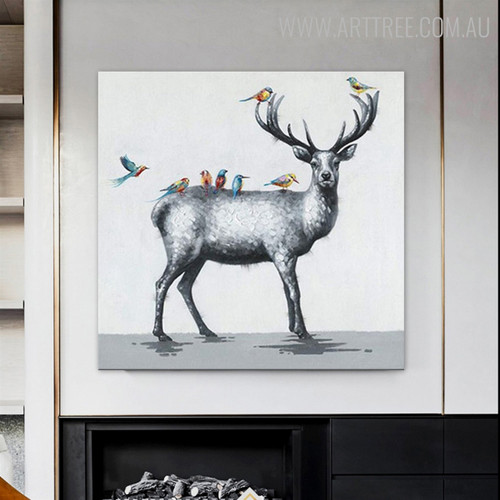 Deer Birds Abstract Animal Modern Palette Knife Painting for Diy Wall Decor