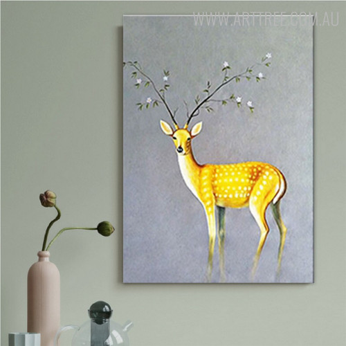 Deer Plant Floral Animal Modern Canvas Wall Art for House Interior Design