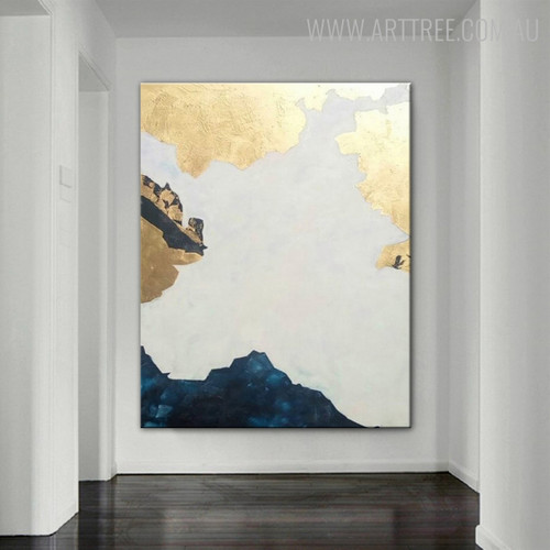 Blue Hills Abstract Modern Heavy Texture Handmade Canvas Artwork for Diy Wall Decor