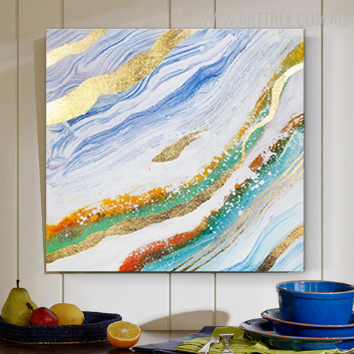 Wave Abstract Modern Heavy Texture Acrylic Painting for Wall Decoration