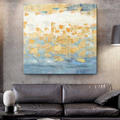 Gold Spots Abstract Modern Handmade Canvas Art for Living Room Wall Outfit