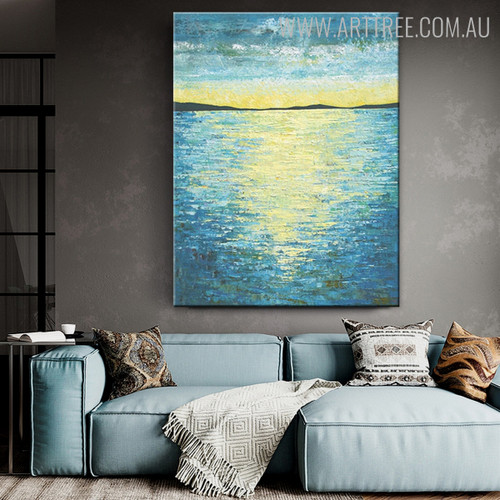 Seascape Abstract Modern Heavy Texture Handmade Nature Painting for Wall Getup