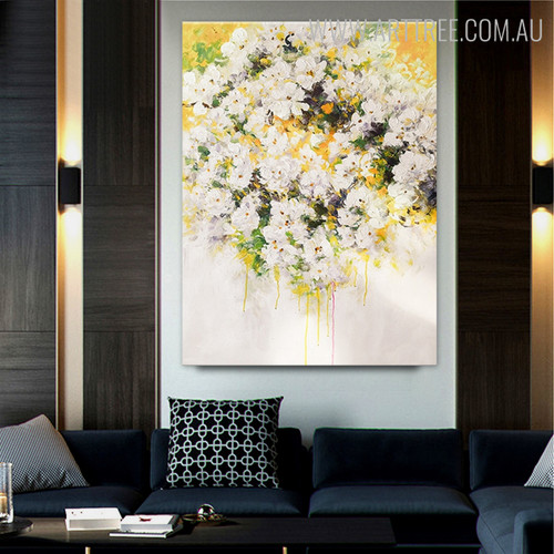 White Flowers Modern Floral Handpainted Canvas for Living Room Wall Ornament