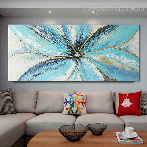 Blue Petals Abstract Contemporary Oil Smudge on Canvas for Floral Decoration on Wall