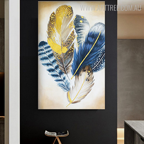 Chromatic Feathers Abstract Modern Handmade Canvas Portrayal for Diy Wall Decor