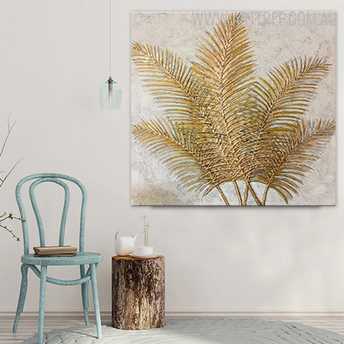 Palm Foliage Handmade Oil Effigy on Canvas for Modern Interior Design