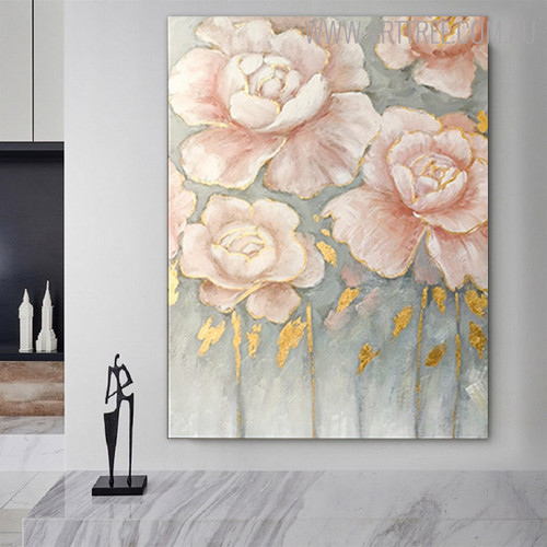 Rose Foliage Modern Framed Floral Heavy Texture Handmade Oil Painting for Wall Outfit