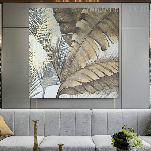 Banana Leaves Modern Botanical Nature Heavy Texture Acrylic Painting for Wall Hanging Decor