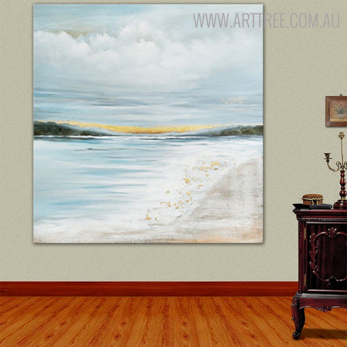 Seaside Abstract Modern Framed Heavy Texture Seascape Handmade Nature Portmanteau for Wall Finery