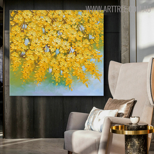 Yellow Blooms Abstract Floral Heavy Texture Handpainted Canvas for Diy Wall Decor