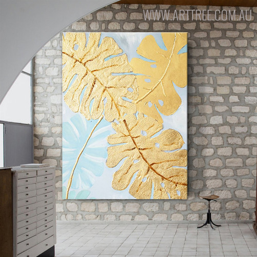 Tropical Leaves Abstract Framed Modern Heavy Texture Canvas Artwork for Wall Decor Design