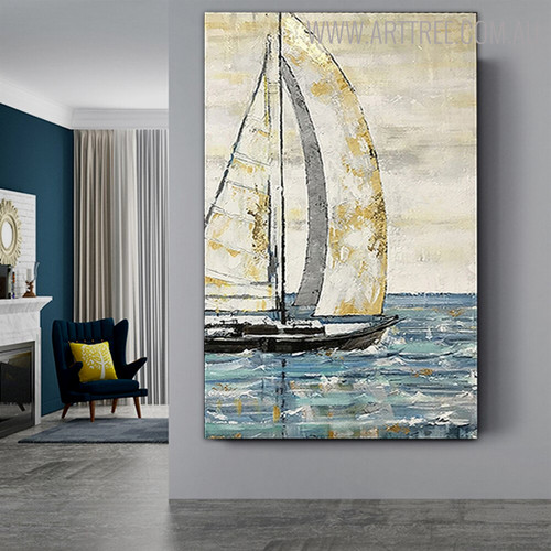 Sailing Boat Abstract Modern Seascape Bold Texture Handmade Nature Resemblance for Art Lovers