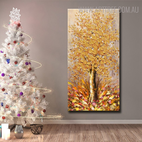 Golden Arbor Abstract Heavy Texture Floral Palette Knife Painting for Living Room Wall Assortment
