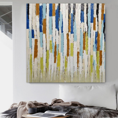 Chromatic Lines Abstract Modern Framed Heavy Texture Knife Effigy for Home Wall Getup