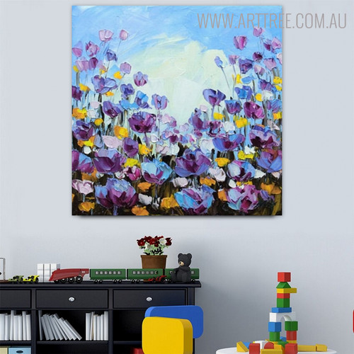 Calico Blossoms Abstract Modern Floral Palette Knife Effigy for Diy Wall Decor