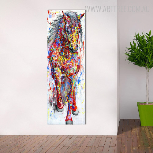 Hued Horse Animal Modern Texture Handmade Canvas Art for Interior Decoration
