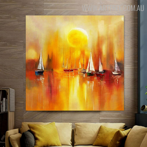 Sundown Abstract Bold Texture Framed Seascape Palette Knife Painting for Home Wall Outfit