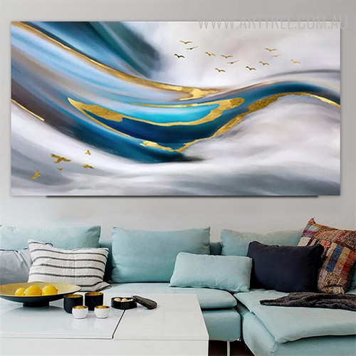 Gilding Birds Abstract Modern Framed Heavy Texture Handmade Canvas Artwork for Wall Decoration