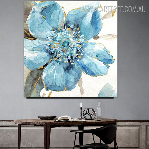 Blue Bloom Abstract Floral Modern Framed Heavy Texture Handmade Oil Paintings on Canvas for Dining Room Wall Outfit