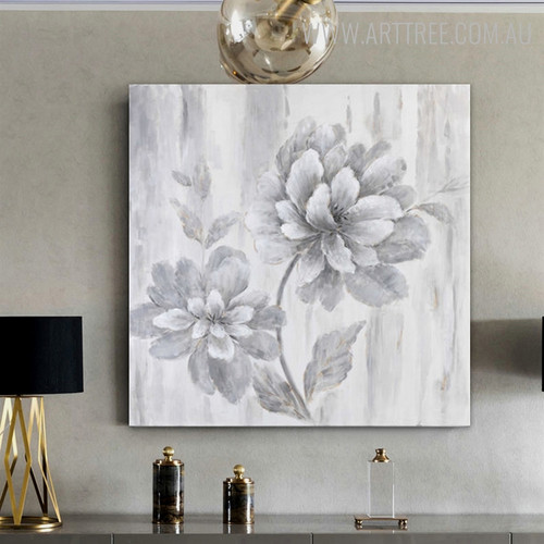 Grey Flower Abstract Floral Framed Handmade Oil Resemblance on Canvas for Living Room Wall Outfit