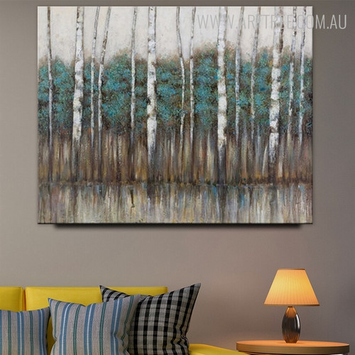 Forest Trees Abstract Modern Framed Heavy Texture Handmade Nature Painting for Diy Wall Decor